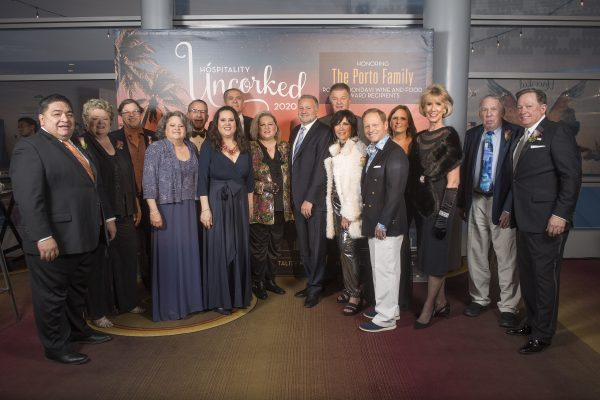20Hospitality Uncorked-Collins College board members with the Portos during Hospitality Uncorked 2020 at the JW Marriott in Los Angeles February 28, 2020.